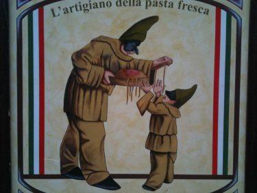 Este dibujo manda en la fachada de La Tagliatella de General Gardoki (foto: cuchillo)