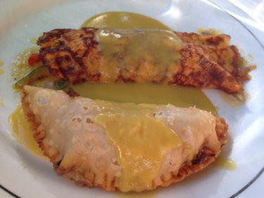 Empanada de hongos y el crepe de verduras de El Pastor del Gorbea.