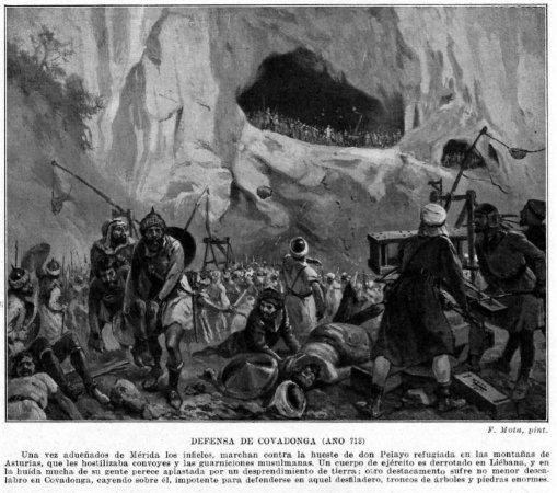 La defensa de Covadonga. 300 asturianos contra 180.000 moros, aprende Leonidas lo que es una defensa, tio moñas