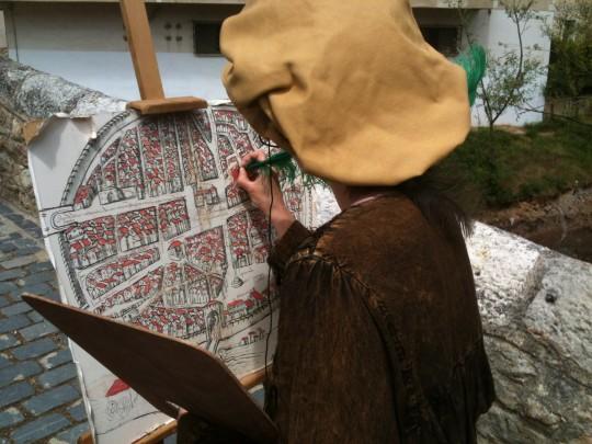 El plano de 1503, protagonista de la visita teatralizada (foto: cuchillo)