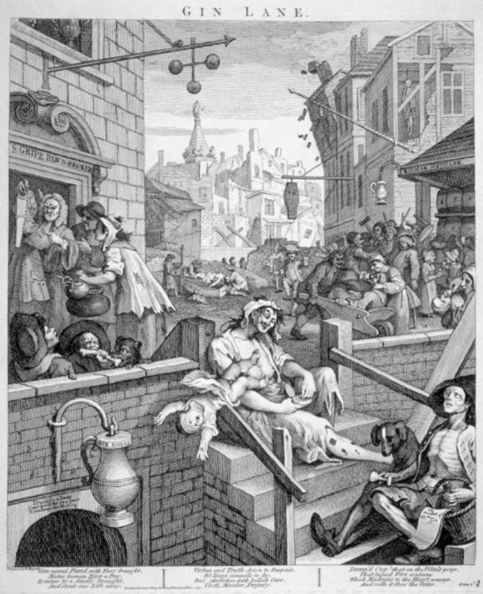 Gin lane, el callejón de la ginebra plasmado por William Hogarth.
