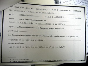 Parte de defunción de Julián del Hoyo