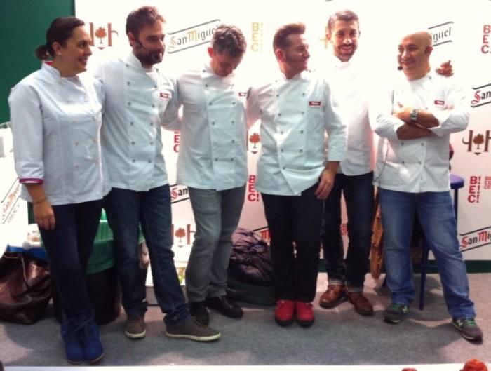 Los seis magníficos cocineros que actuaron ayer en Bilbao (foto: Cuchillo)