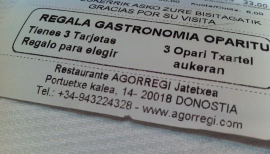 Ticket de restaurante Agorregi; detalle (foto: Cuchillo)