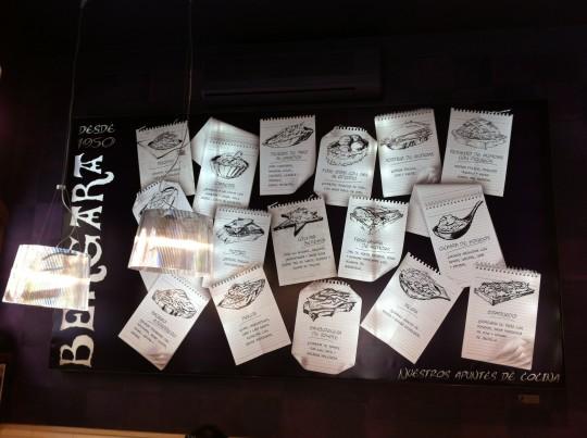 Apuntes de cocina, al fondo del bar Bergara (foto: Cuchillo)