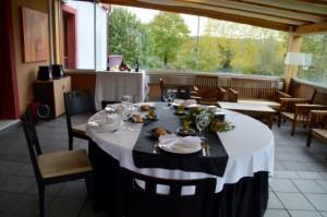 Vista de Gorbeialdea desde el comedor en la terraza del hotel balneaio Areatza