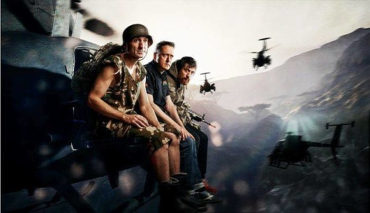 Albert Pla, Fermin Muguruza y Refree en imagen promocional del musical 'Guerra'.