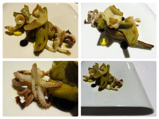 Salteado de calamar y alcachofas, con all i oli, en Lola (foto: Cuchillo)