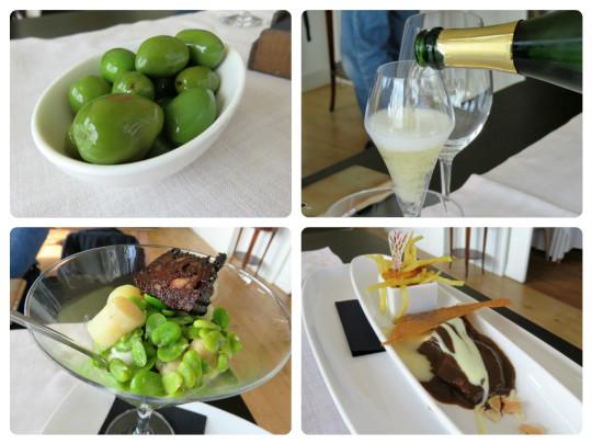 Olivas, champagne, habitas y carrillera, tres opciones para picar en Rekondo (foto: Cuchillo)