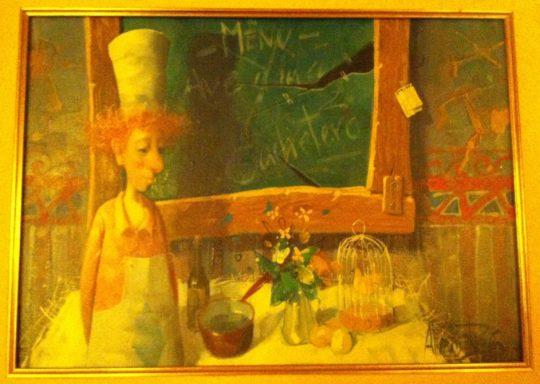 Uno de los cuadros que decoran el comedor de Cachetero Comidas (foto: Cuchillo)