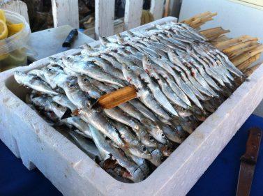 Las sardinas, ensartadas en el espeto, listas para arrimar a la brasa (foto: Cuchillo