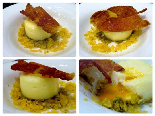 Coulan de huevo con 'teja' de jamón, hongo y trufa, en Zazpi (foto: Cuchillo)