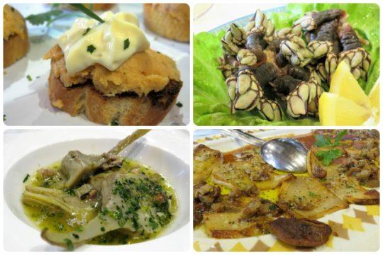 Pastel de pescado, percebes, alcachofas y hongos con foie, en Aratz (fotos: Cuchillo)