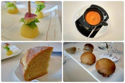 Grillo, café, pan de maíz y petit fours, en Nerua (fotos: Cuchillo)