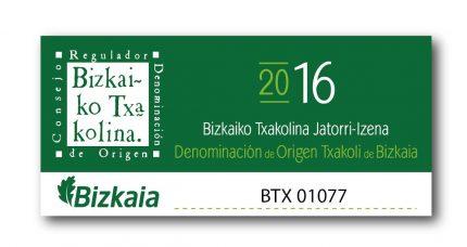 La nueva contraetiqueta del txakoli de Bizkaia.