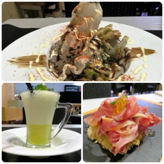 Ensalada de pulpo y bacalao, sorbete y tosta, todo del bar Azkena (foto: Cuchillo)