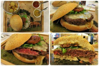 Hamburguesa de buey en el Llagar de Colloto (fotos: Cuchillo)