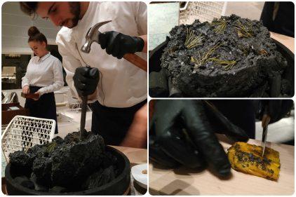 Fósil de pulpa de cacao, en Disfrutar (fotos: Cuchillo)